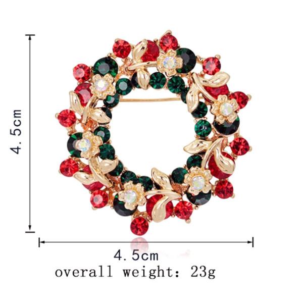 Flower Wreath Brooch RED