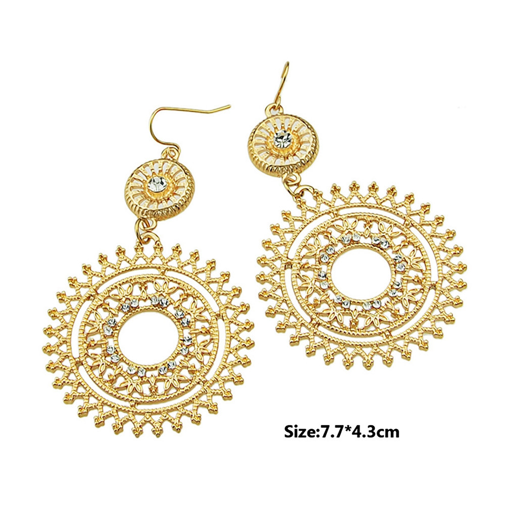 Hollow Out Round Shaped Rhinestone Dangle Earrings GOLD