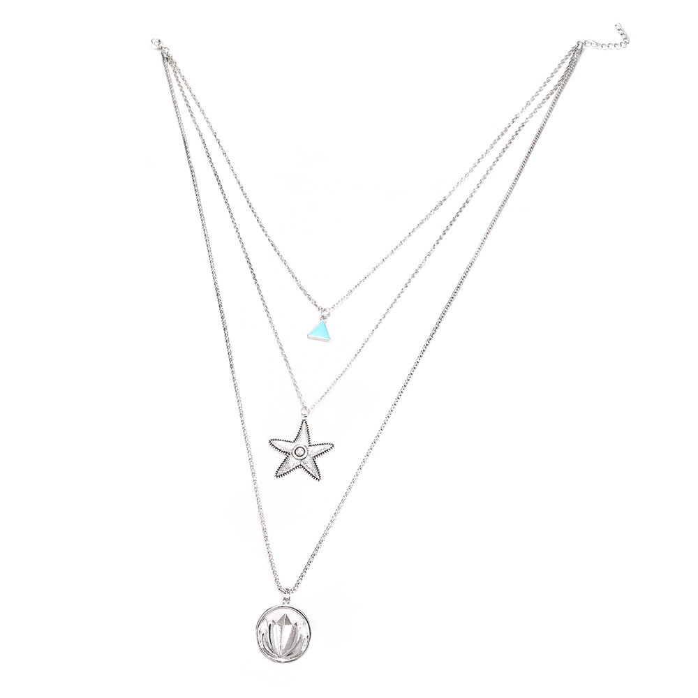 Multilayer Necklace for Women Lotus Starfish Star Shape Pendant Necklace Gift SILVER 1PC