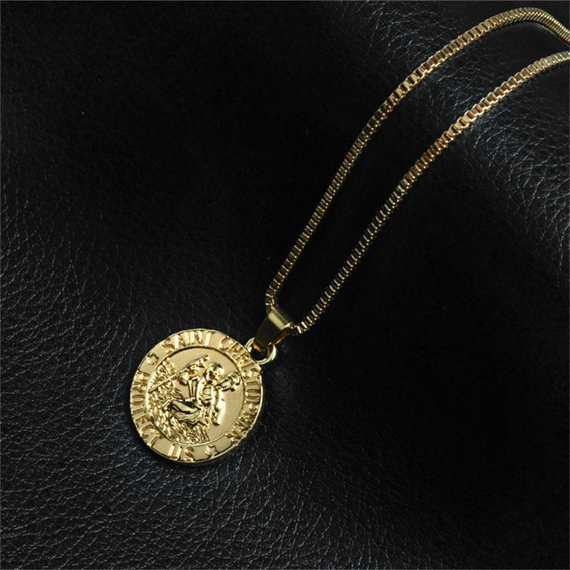 Simple Trend Men's Round Guardian Necklace GOLD