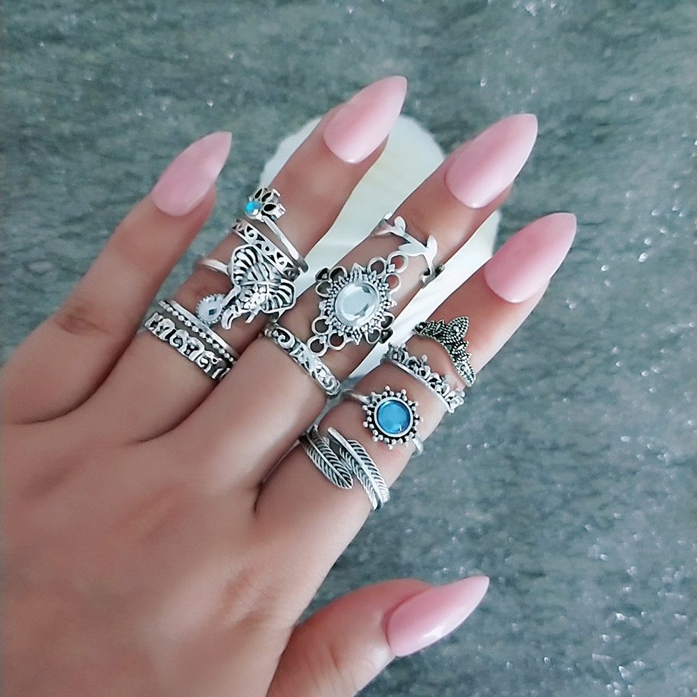 12 PCS/Set Vintage Blue White Crystal Flower Elephant Opal Stone Finger Rings SILVER RING SET