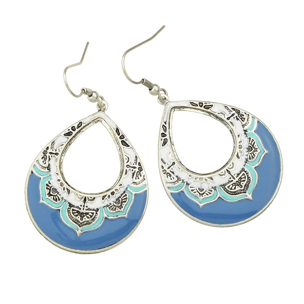 Enamel Big New Designs Earrings TURQUOISE