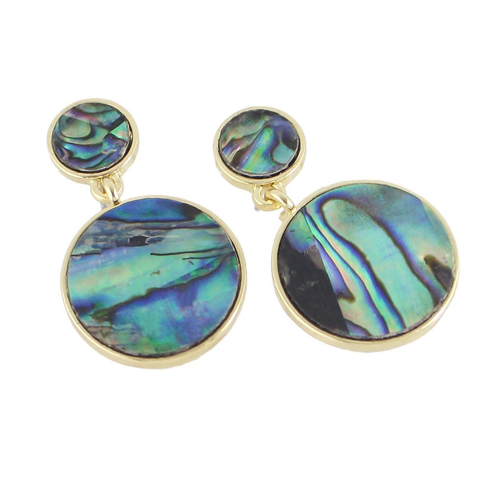 Gemstone Round Shape Earrings SEA TURTLE GREEN