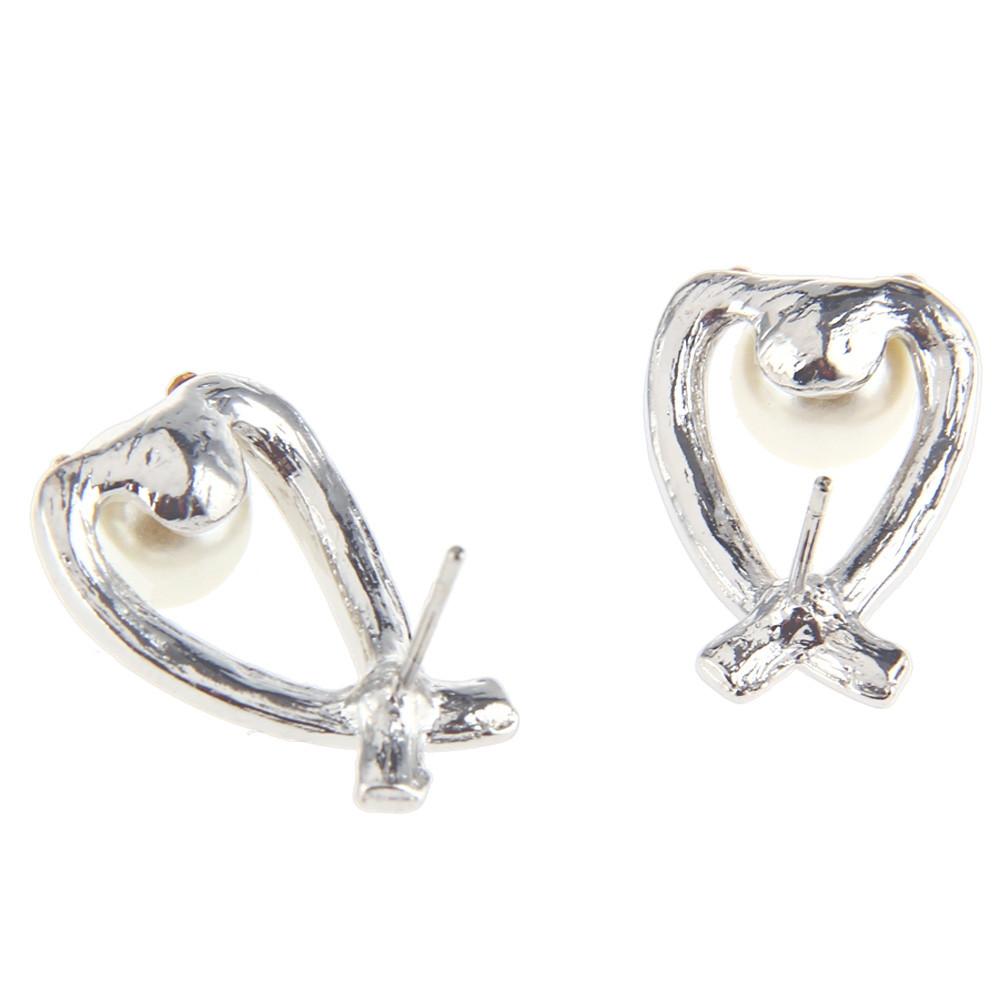 Faux Pearl Rhinestone Embellished Ladies Intersect Stud Earrings SILVER