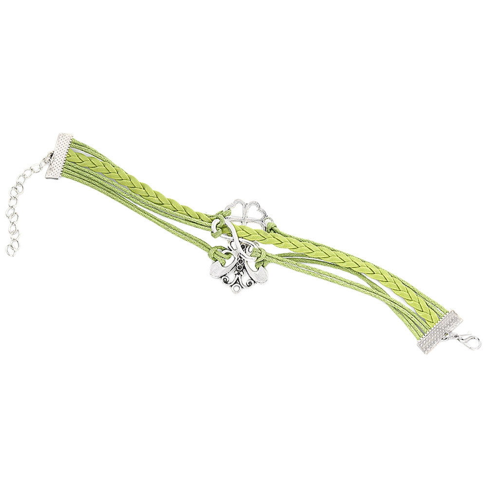 Sweet Cartoon Bowknot Plant Leaf Figure 8 Decoration Women Multilayer Weave Alloy Rope Bracelet GREEN