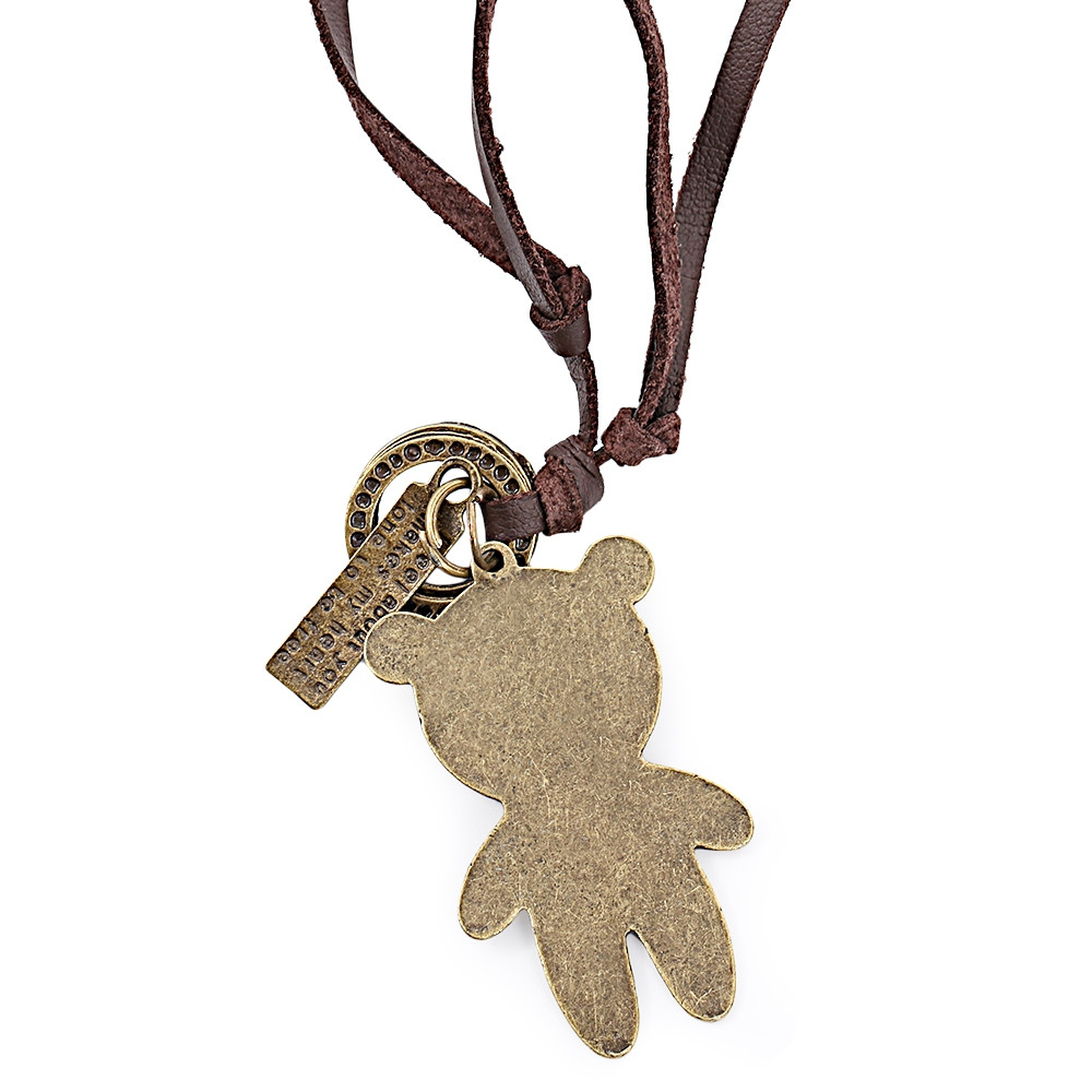 Stylish Bear Pattern Design Adjustable Unisex Leather Necklace BROWN