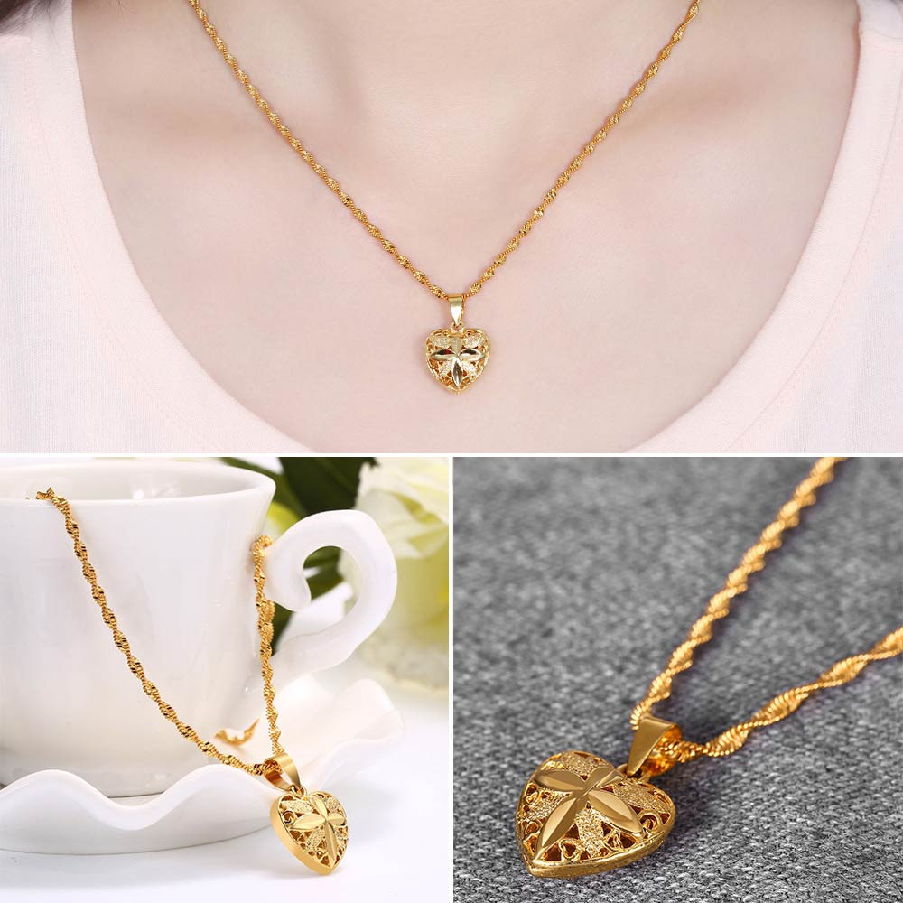 Ladies Gold Plated Hollow Out Heart Pendant Necklace GOLDEN
