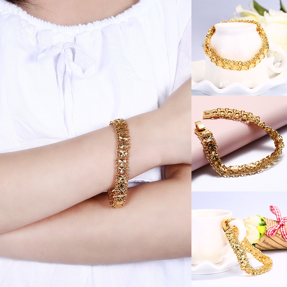 24K Plated Gold Color Hearts Link Chain Bracelet for Women GOLDEN
