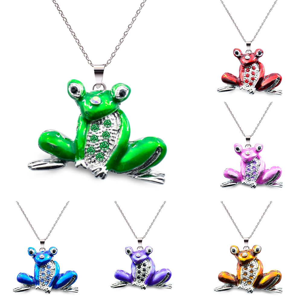 Sparkling Rhinestones Cute Frog Women Long Necklace GREEN