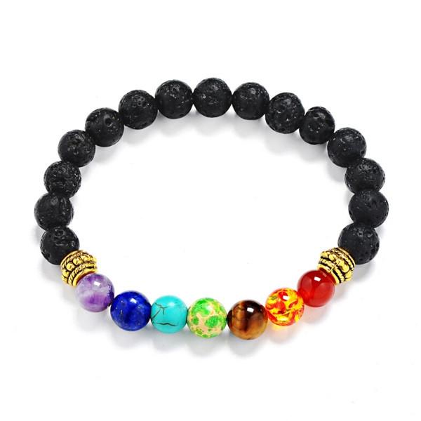 Lava Stone Multicolor Beaded Bracelet GOLDEN