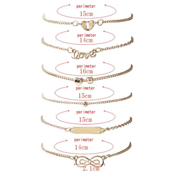 Love Heart Bead Bar Infinite Bracelet Set GOLDEN