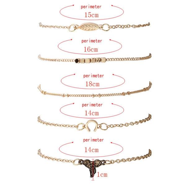 Elephant Leaf Chain Bracelet Set GOLDEN
