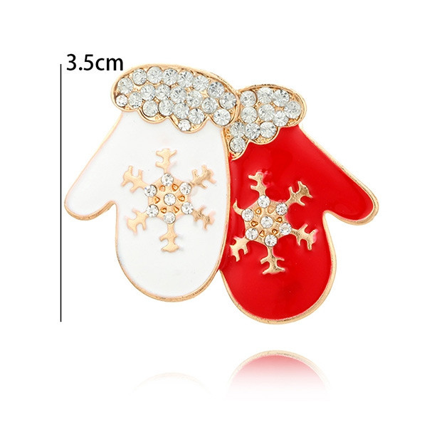 Rhinestone Embellished Snowflake Gloves Brooch RED