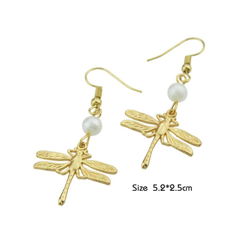 Faux Pearl Dragonfly Fish Hook Earrings GOLDEN