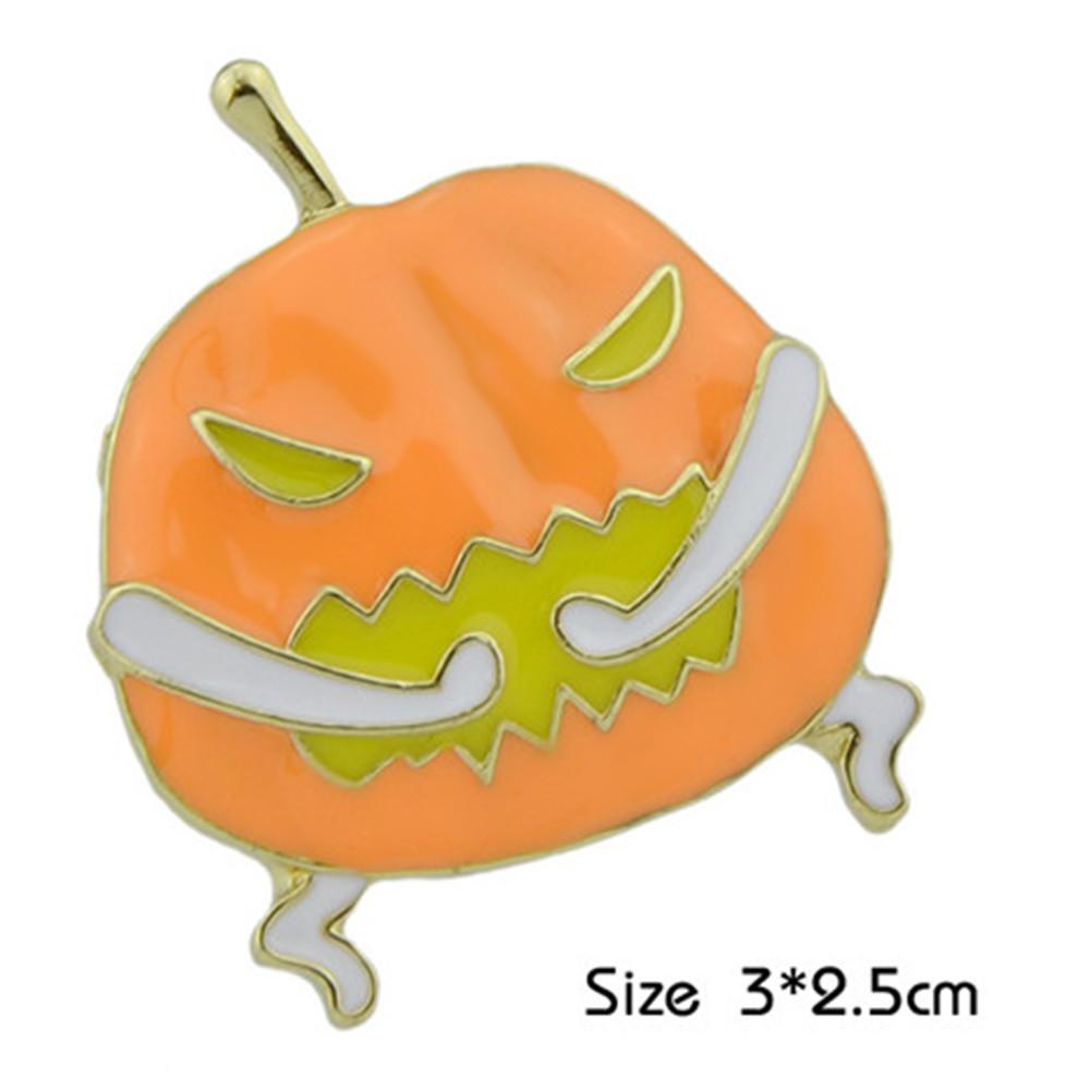 Funny Halloween Devil Pumpkin Brooch GOLDEN
