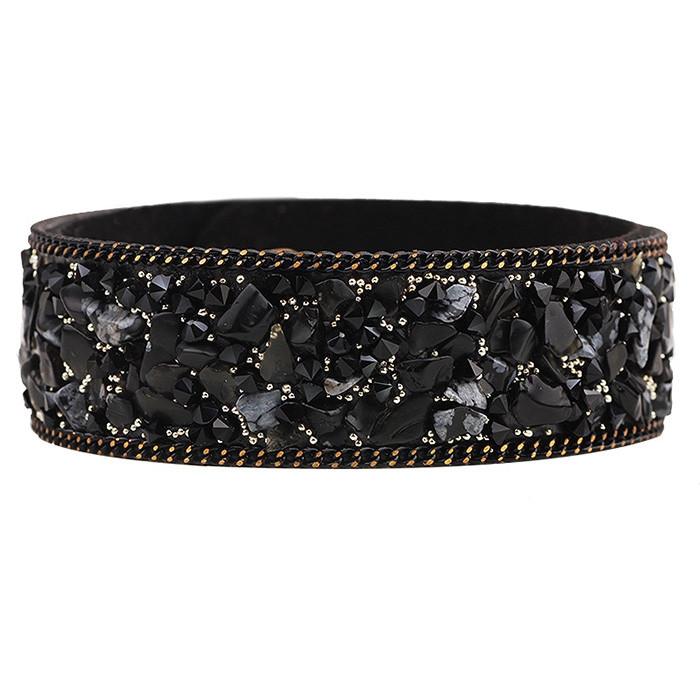 Colorful Elegant Crystal Gallet Wristband Bracelet BLACK