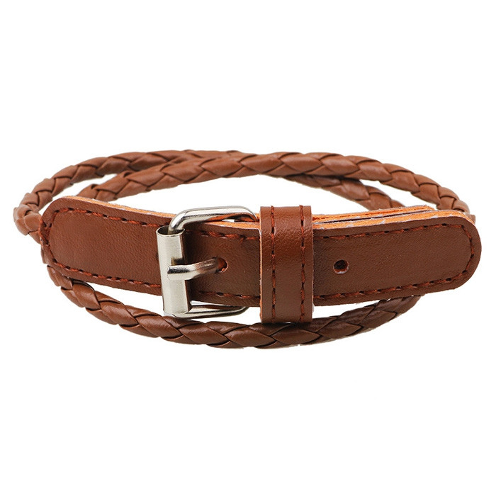Unisex Business Simple Braided Multilayer Leather Bracelet COFFEE