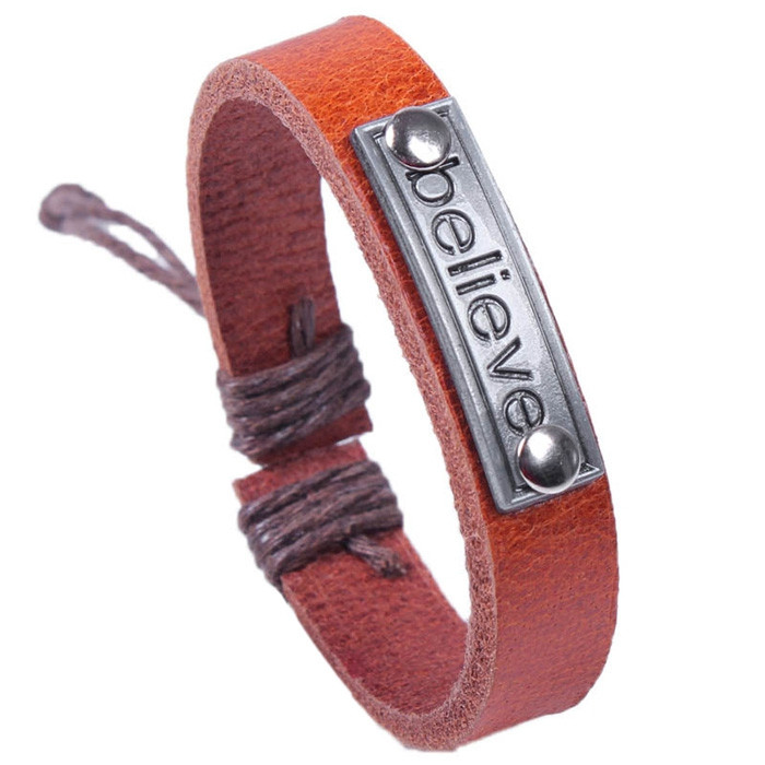 Cool Soft Stylish Unisex Alloy Leather Bracelet BROWN