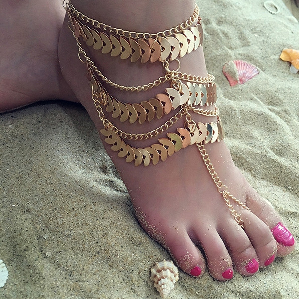 Vintage Ethnic Style Multilayer Chain Bracelet Anklet for Women GOLDEN