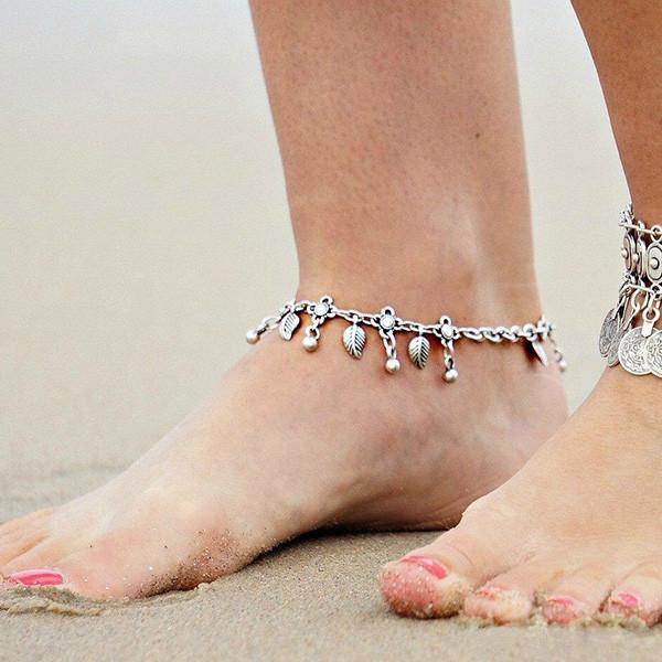 Bohemian Vintage Charm Leaf Tassels Bracelet Anklet for Women SILVER