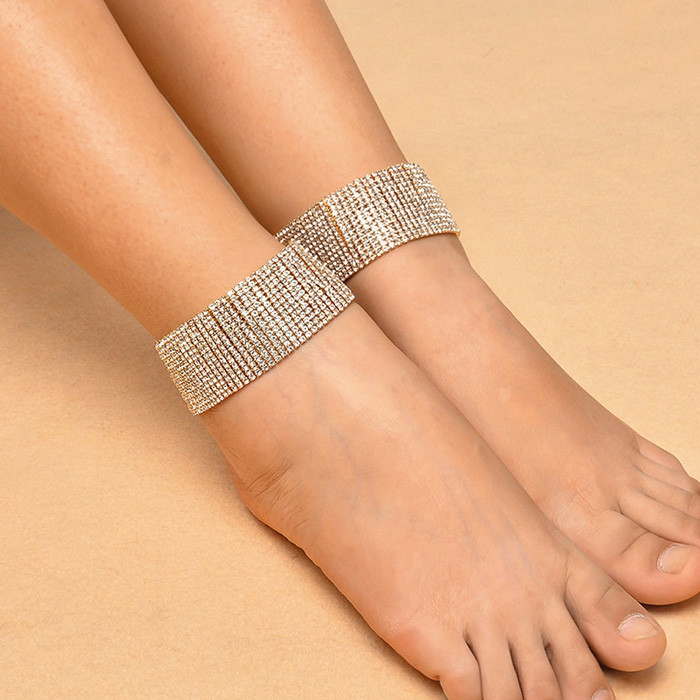 Multi-row Bridal Adjustable Faux Diamond Bracelet Anklet for Women GOLDEN