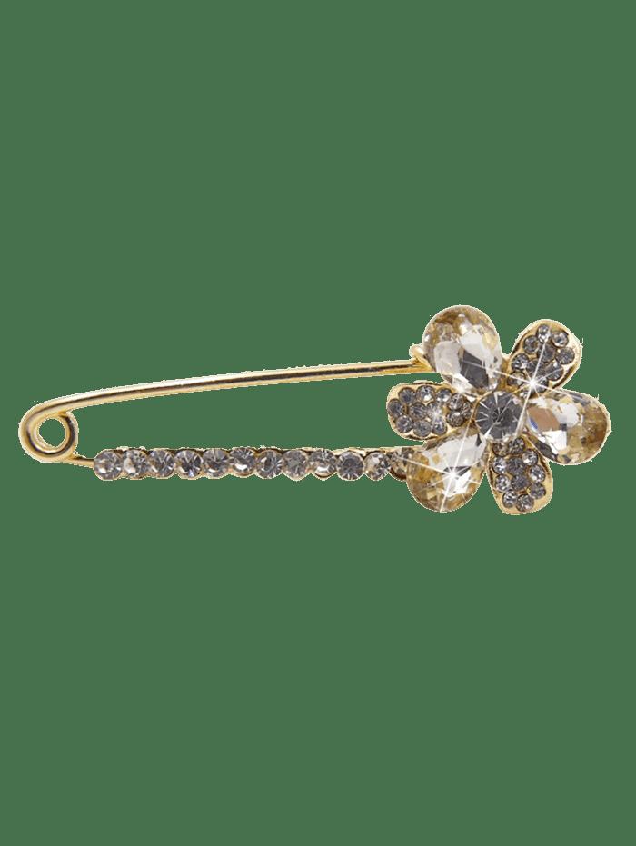 Floral Faux Crystal Embellished Brooch WHITE