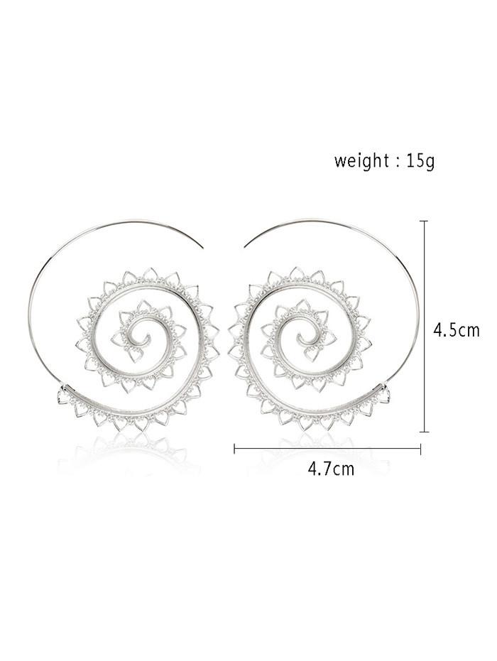 Spiral Ethnic Hoop Earrings SILVER