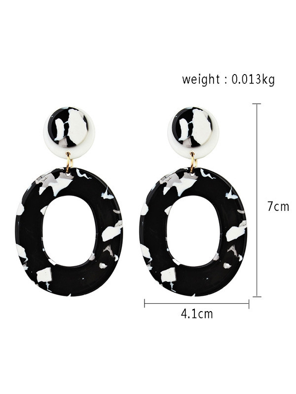 Acrylic Oval Stud Drop Earrings BLACK