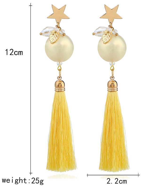 Faux Pearl Star Leaf Tassel Earrings YELLOW