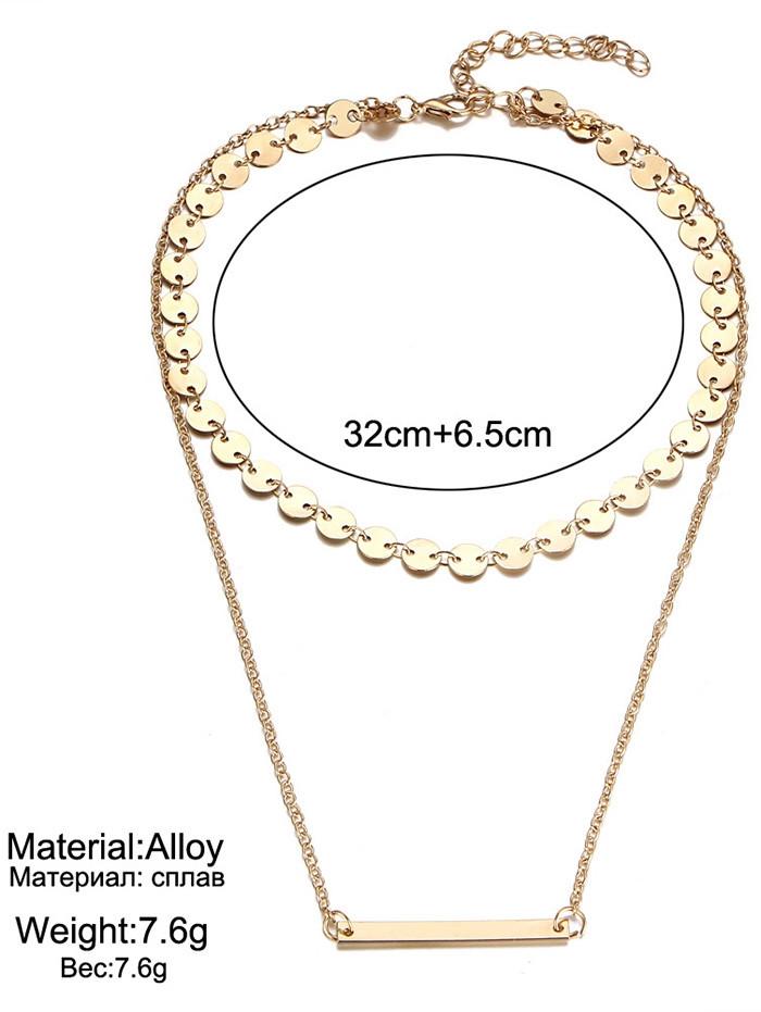 Circle Disc Bar Layered Pendant Necklace GOLDEN