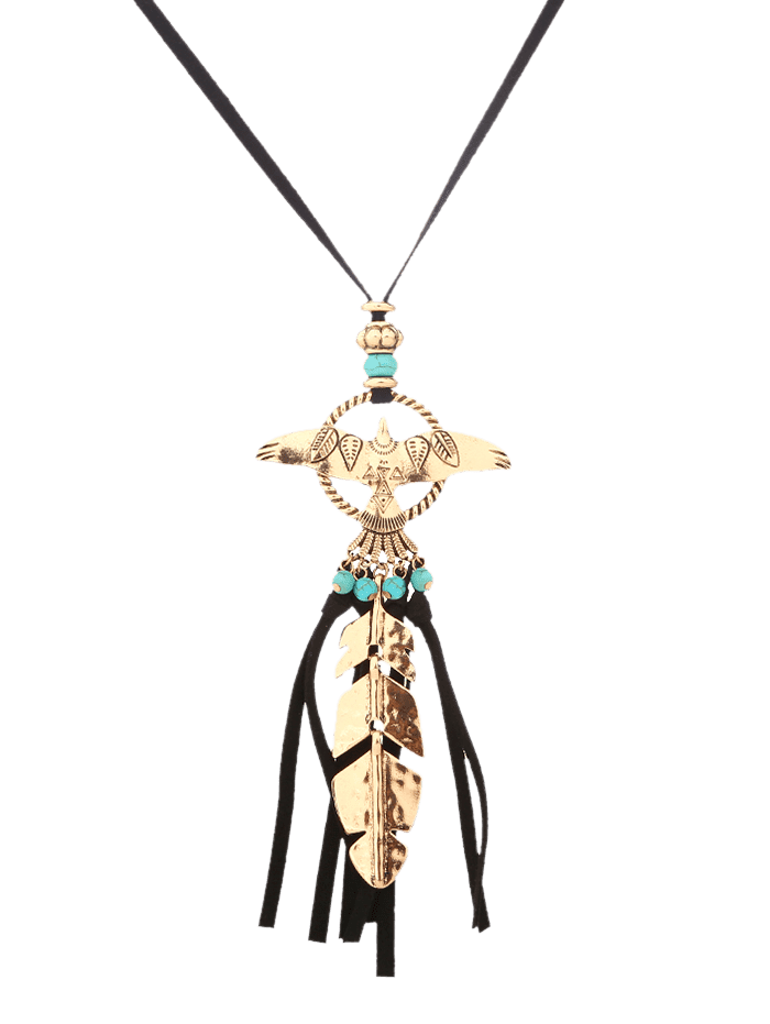 Faux Turquoise Fly Eagle Leaf Tassel Sweater Chain GOLDEN