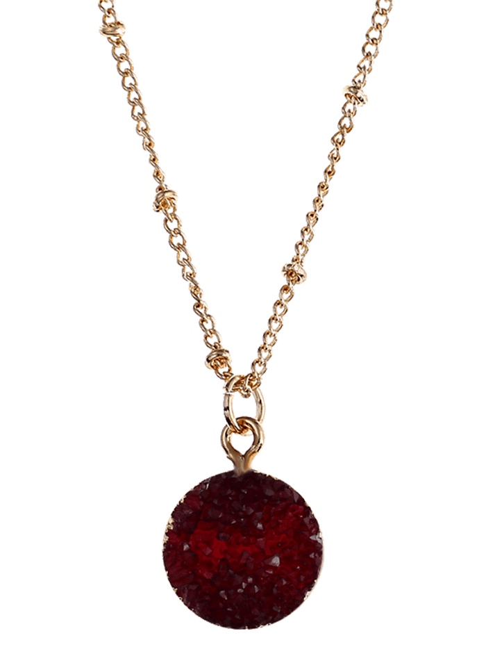 Natural Stone Round Pendant Necklace VALENTINE