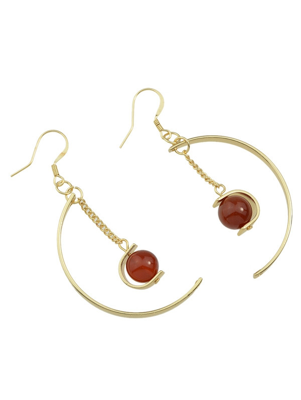 Artificial Gem Bead Chain Circle Earrings RED