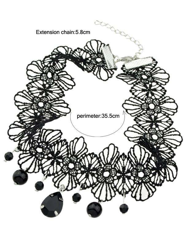 Crochet Lace Floral Teardrop Bead Pendant Choker BLACK