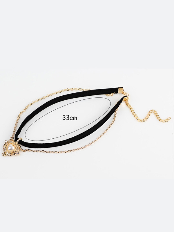 Artificial Pearl Love Heart Choker Necklace BLACK