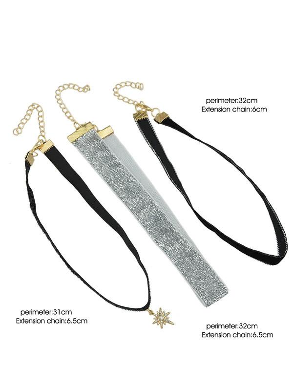 Faux Leather Star Choker Necklace Set GOLDEN