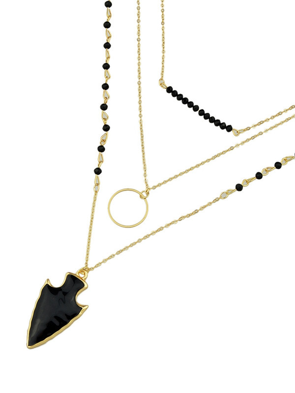 Arrow Circle Beads Layered Necklace BLACK