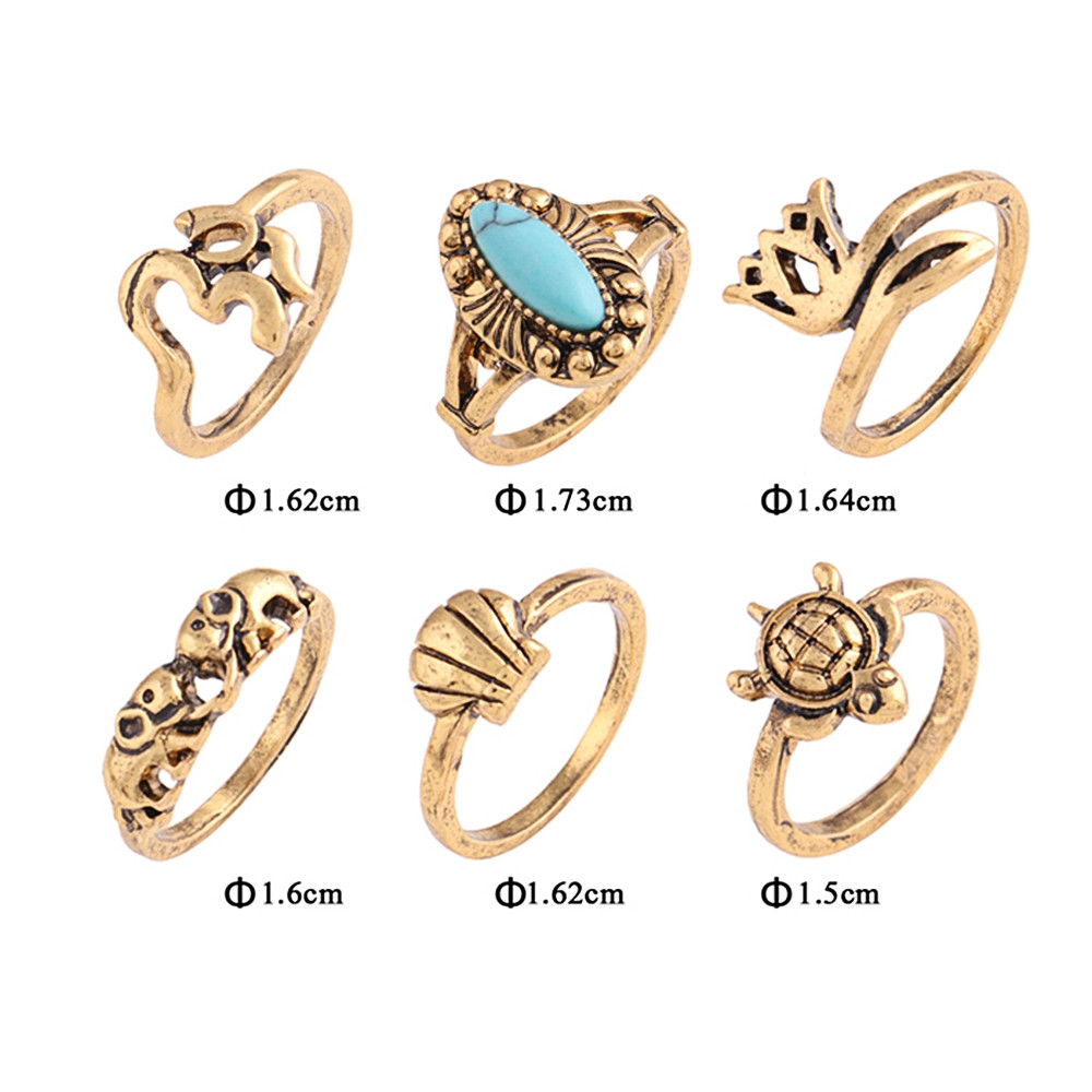 Alloy Faux Turquoise Elephant Tortoise Ring Set GOLDEN