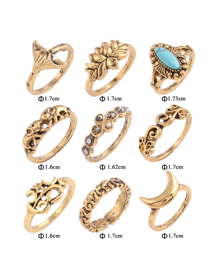 Artificial Turquoise Elephant Moon Alloy Ring Set GOLDEN