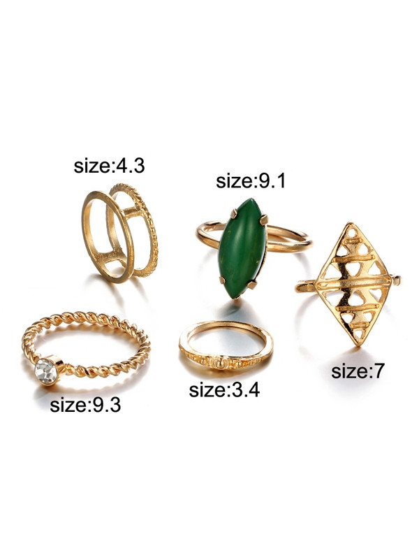 Artificial Gem Geometric Circle Finger Ring Set GOLDEN