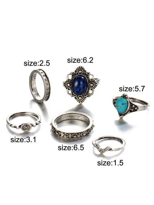 Faux Turquoise Oval Bohemian Finger Ring Set SILVER