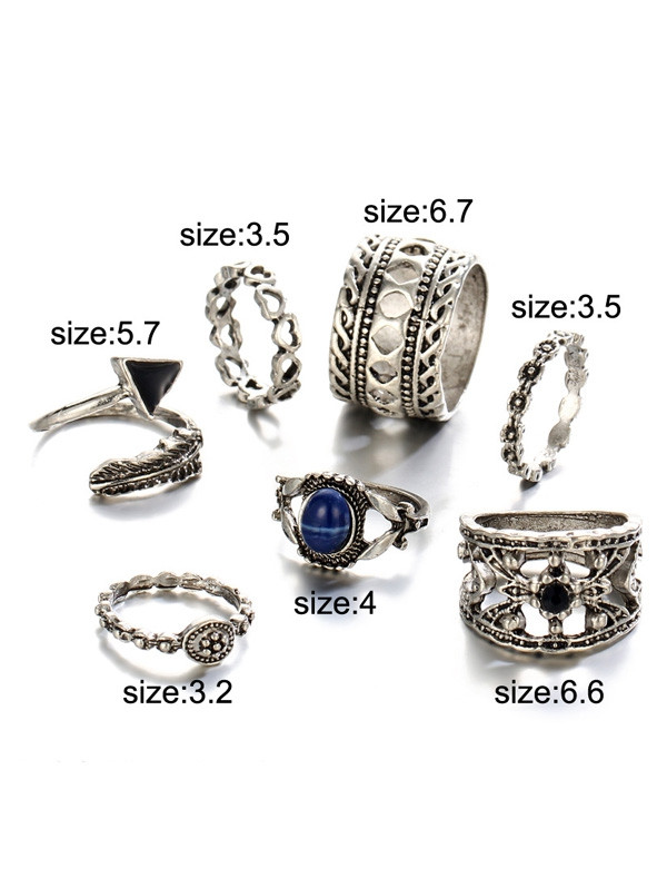Engraved Alloy Feather Heart Finger Ring Set SILVER