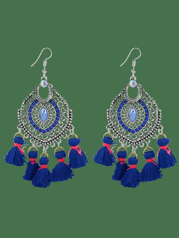 Dreamcatcher Shape Tassel Pendant Hook Earrings BLUE
