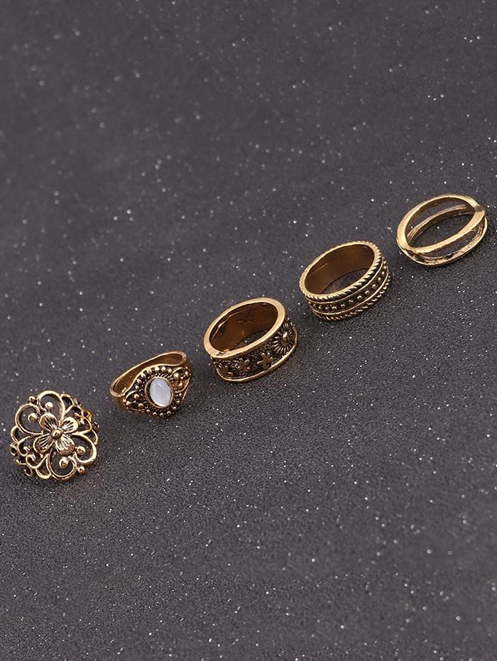 Faux Gem Engraved Flower Ring Set GOLDEN