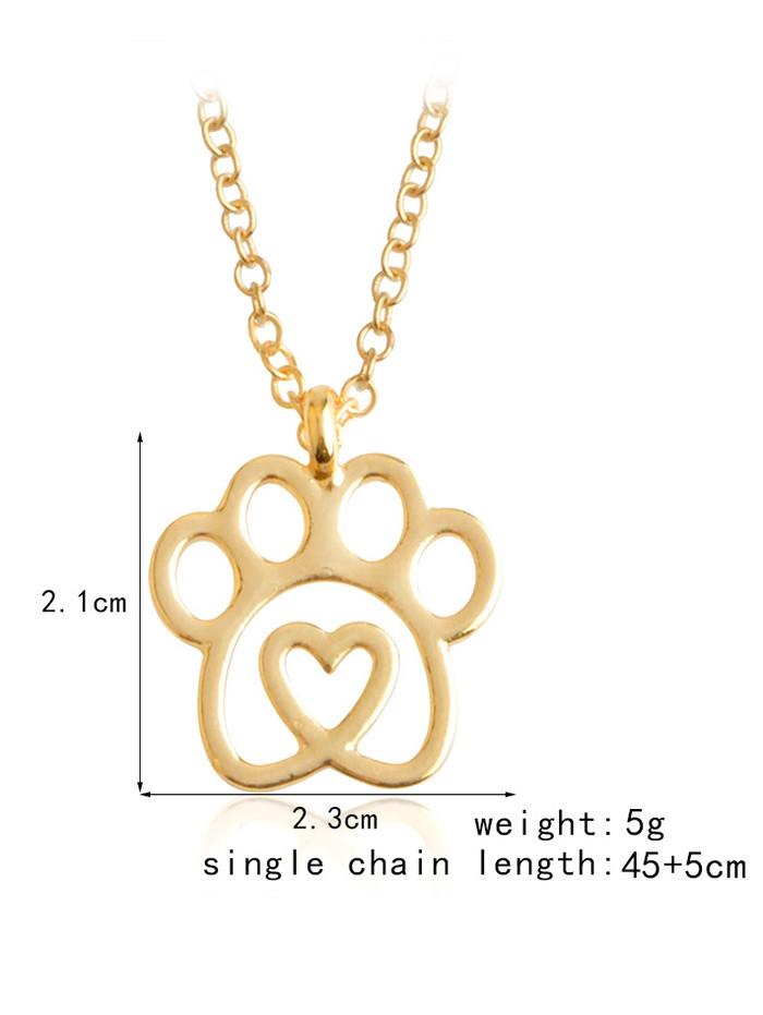 Heart Claw Footprint Pet Pendant Necklace GOLDEN