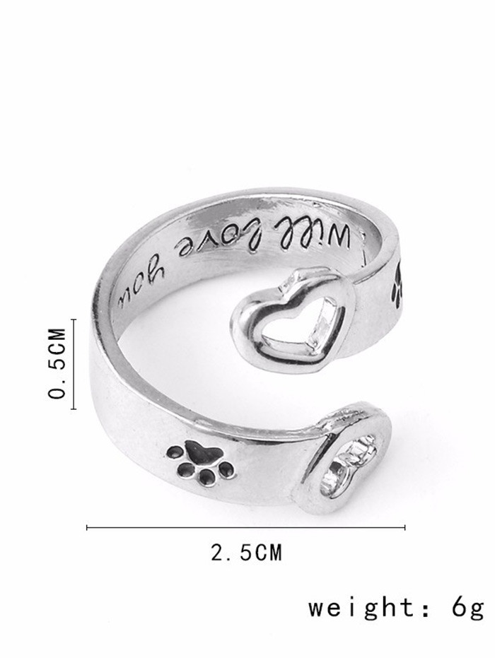 Love You Forever Claw Footprint Heart Ring SILVER