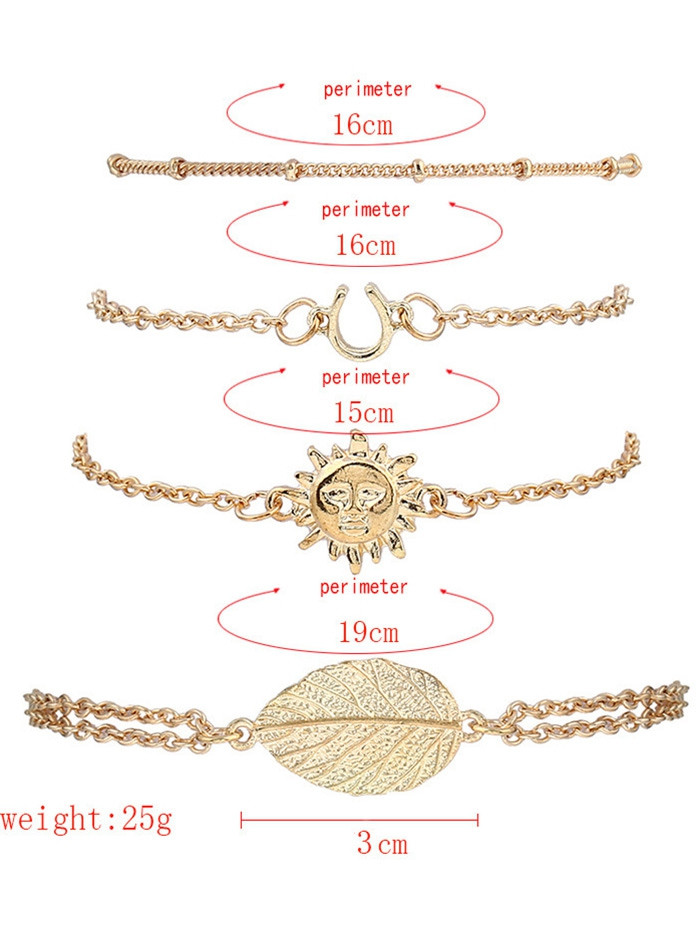 4PCS Sun Leaf Bracelets GOLDEN