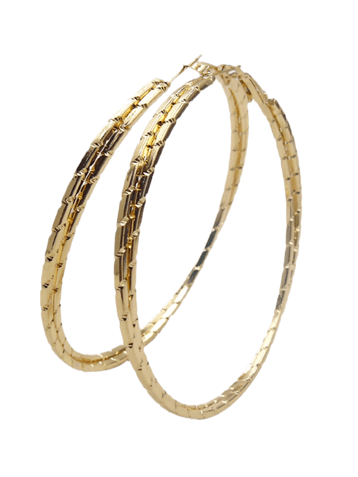 Alloy Metal Circle Hoop Earrings GOLDEN