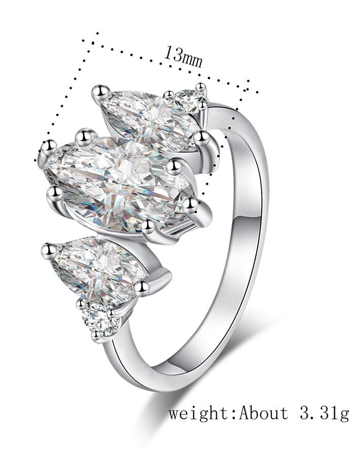 Horse Eye Shape Zircon Embellished Metal Ring SILVER 7