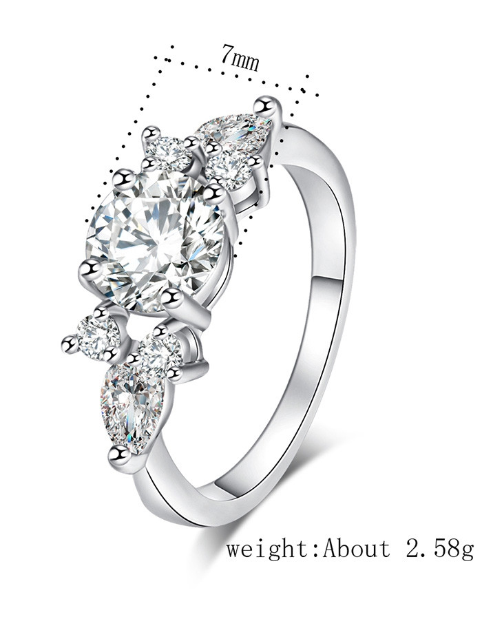 Zircon Embellished Brief Metal Ring SILVER 6